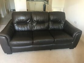 Brown leather sofa for sale in good condition
