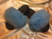 Baby Blue Real Fox Fur Sliders