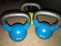 3 kettle bells 6kg and 8kg kettlebells