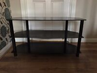 3 Shelf Black Glass TV Stand: 99cm width x 39.5cm depth x 53cm height