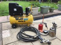 Wolf Air Compressor 24L 7.6CFM 2HP + Air Tool Hose