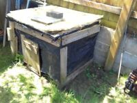chicken hutch (home made from wood )