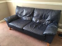 Used blue leather sofas