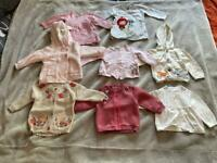 8 Girls cardigans and jumpers. Age 3-6 months