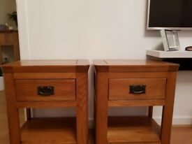 Solid oak side tables - pair fantastic condition