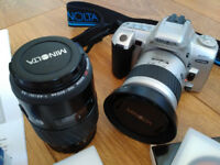 Konica Minolta Dynax 404Si 35mm SLR Film Camera with two lens for Minolta / Sony Alpha