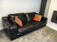 Harvey's dark brown leather Three-Seater Sofa