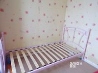 girls full size pink single metal bed