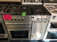 RANGEMARSTER 90CM BRAND NEW DUAL FUEL RANGE STYLE COOKER IM SHINY SILIVER