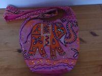 Women's Orange And Pink Embroidered Indian Elephant Design Side Bag