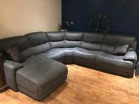 Blue Suede Soft fabric sofa RRP £3195