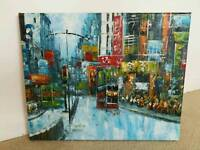 Hand painted Canvas knife oil painting abstract Hong Kong Trams