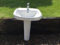 Twyford Metal bath and ceramic pedestal sink. Very good condition.