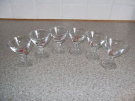 RARE AND COLLECTABLE SET OF 6 COCK FIGHTING GLASSES