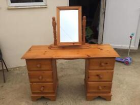 Solid pine dressing table with matching mirror £100