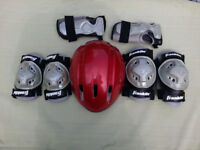 Cycle helmet and Pads Red
