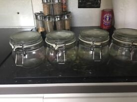 Glass storage jars small x 4