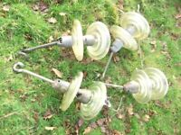 QUIRKY GARDEN DECORATION **LARGE GLASS DISCS / OLD ELECTRIC INSULATORS