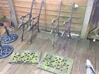 Cast iron garden bench ends / chairs rose & vine backs £50