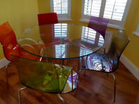 John Lewis Glass Dining Table and 5 coloured chairs