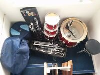 Drum kit (four-piece Sonor Force 3003) with hardware and kit bags