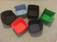 Set of 6 Foldable Coloured Storage Boxes, 28 x 27 x 27 cm