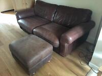 John Lewis Brown Leather Sofa & Storage Footstool