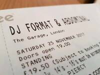 2x DJ Format & MC Abdominal tickets, 25th Nov, The Garage, London.