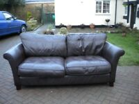 BROWN LEATHER 3 SEATER & 2 SEATER SOFA'S - SUPERB QUALITY - £275