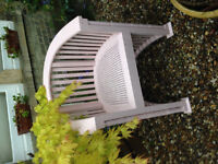 Wood chair with a rattan seat. painted pink. large and only one. free to pick up.