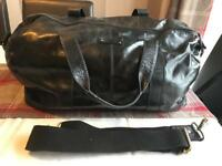 Large Black leather Fossil hold-all/ duffel / weekend Bag