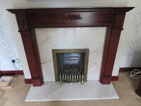 Magiglo Gas Fire, 3 brass Surrounds and spare coals