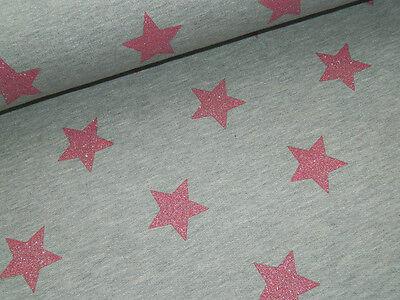 Sweat Baumwollsweat Stern Sterne grau rosa Glitzer Meterware Stoff 50/140cm