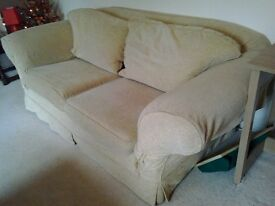 Gold sofa in Watton. Good condition for sale with washable covers with no marks or staining on.