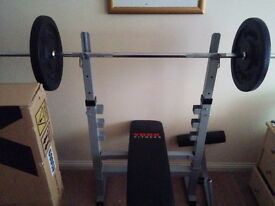 York Weight bench, barbell & 2x20kg plates