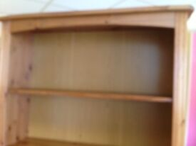 Large pine bookcase with 3 shelves and 3 drawers vgc