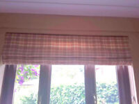 Silk Roman blind terracotta, cream and apricot. Matching curtains and pole also for sale