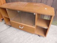 Wood Tv Unit Stand with Glass Doors Delivery Available £10