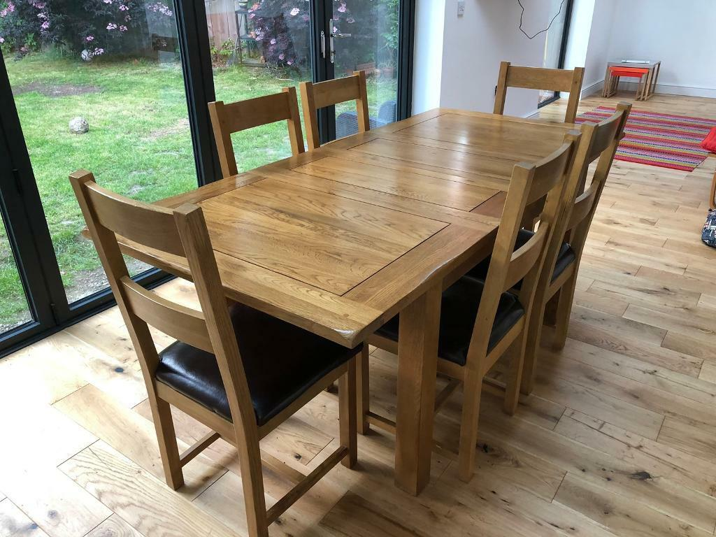 Astonishing Extendable Solid Oak Dining Table And 6 Chairs In Newcastle Tyne And Wear Gumtree Home Interior And Landscaping Ologienasavecom