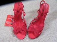 KALEIDOSCOPE STRAPPY RED SANDALS HIGH HEEL SATIN LOOK SIZE 5 NEW