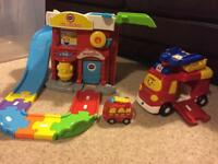 v tech toot toot drivers deluxe fire station with large and small fire engine