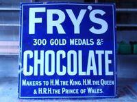 Large Fry's Chocolate Enamel Advertising Sign c.1925