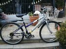 Ladies raleigh vixen silver and purple with lock and basket