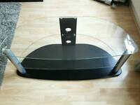 Curved glass TV stand