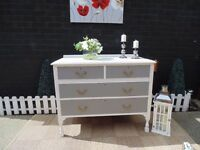 ANTIQUE SOLID PINE FARMHOUSE CHEST OF DRAWERS PAINTED WITH LAURA ASHLEY PALE DOVE GREY