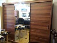 BEAUTIFUL DESIGN 250cm WIDE MONACO 3 DOOR SLIDING WARDROBE WITH FULL MIRROR IN BLACK/WHITE/WALNUT