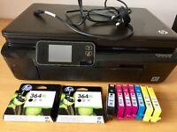 HP 5520 printer (needs repair) plus genuine ink cartridges