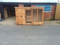 Timber built dog kennel
