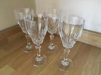 4 x Crystal cut white wine glasses
