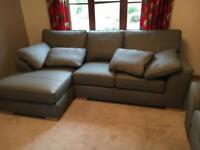 Brand New leather grey corner sofa and snuggle chair